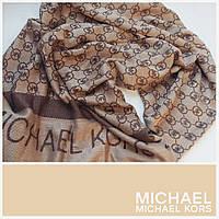 Кашемировый палантин Michael Kors коричнево-бежевый контрастный