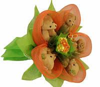 Букет из мишек Оранжевый рай Код:185-18410868