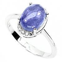 Кольцо танзанит кабошон 9 х 7 мм натуральный серебро 925