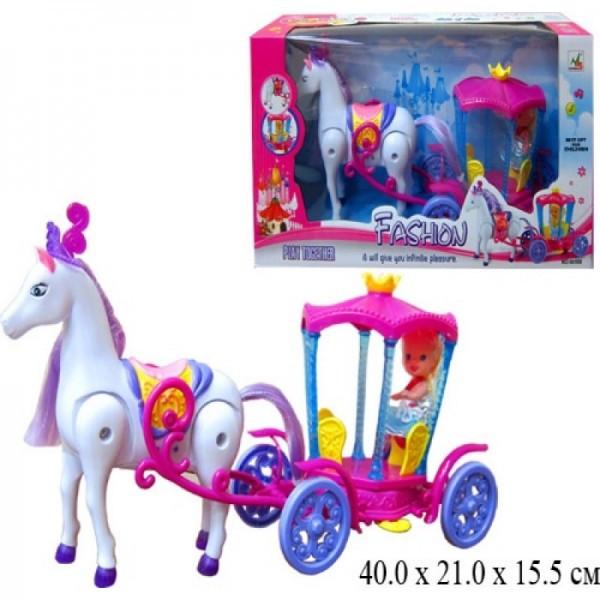 Карета с лошадкой, музыкальная, ходит, с куколкой