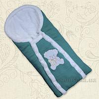 Конверт зимний для малыша Ведмедик Бетис с вышивкой  цвет ментоловый