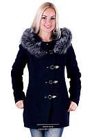 Женское зимнее пальто Кобра темно-синее с серой опушкой