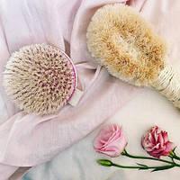Набор щеток для массажа тела - круглый браш и пальмовая щетка