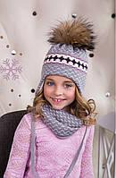 Комплект для девочки с интересным узором (шапка/снуд), фото 1