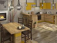 Кухня Шарлотта 2,0м ДСП желтый/дуб крафт золотой Сокме, фото 1