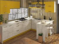 Кухня Шарлотта 2,0м ДСП желтый/дуб крафт белый Сокме, фото 1