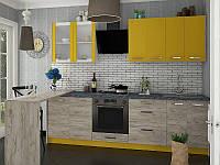 Кухня Шарлотта 2,0м ДСП желтый/дуб крафт серый Сокме, фото 1