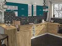 Кухня Шарлотта 2,0м ДСП индиго/дуб крафт золотой Сокме, фото 1