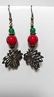 Серьги натуральный камень Коралл, Хризопраз, цвет красный, зеленый, бронза