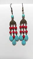 Серьги из натурального камня, Коралл, Бирюза, цвет красный, голубой