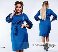 Платье с принтом R-14759 синий