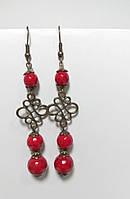 Серьги натуральный камень Коралл, бронза, цвет красный, длина 8 см