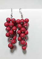 Серьги гроздь длинная Коралл, натуральный камень, цвет красный