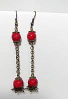 Серьги цветок с Кораллом, натуральный камень, бронза, цвет красный, длина 8,5 см