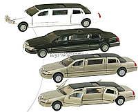 Машина металлическая KINSMART KT7001W (72шт/6)Lincoln Town Car Stretch Limousine 1999 в кор. 18см