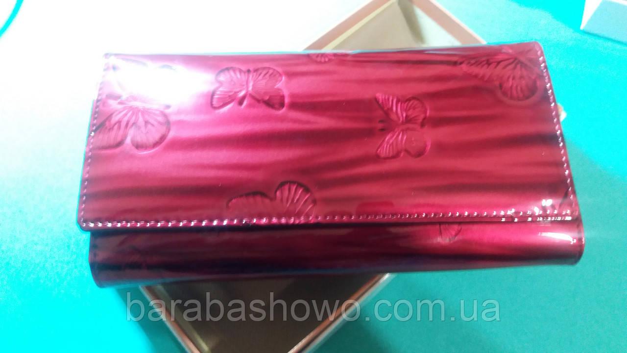 Женский кошелек из натуральной кожи ( Лак RED ) Cossroll на магните змейска