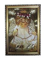 Картина из янтаря Ангел с кроликом (Картины и иконы из янтаря)