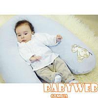 Подушка для беременных и кормления WOMAR велюровая с аппликацией (холлофайбер,164х70 см)