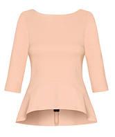 Нежная женская блуза лососевого цвета с баской и молнией на спине. Модель 18023 Enny коллекция осень-зима 2015