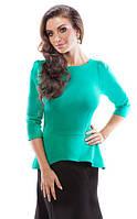 Женская блуза зеленого цвета с баской и молнией на спине. Модель 18023 Enny коллекция осень-зима 2015