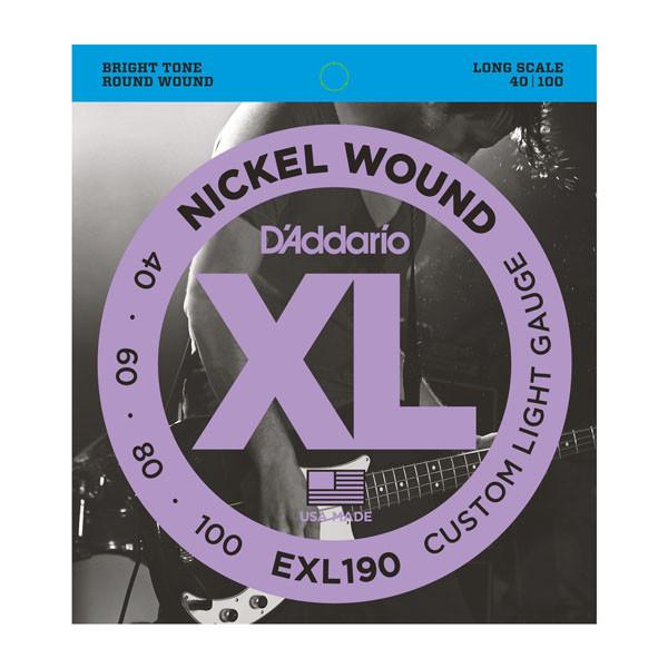 Струни d'addario EXL190 XL CUSTOM LIGHT 40-100