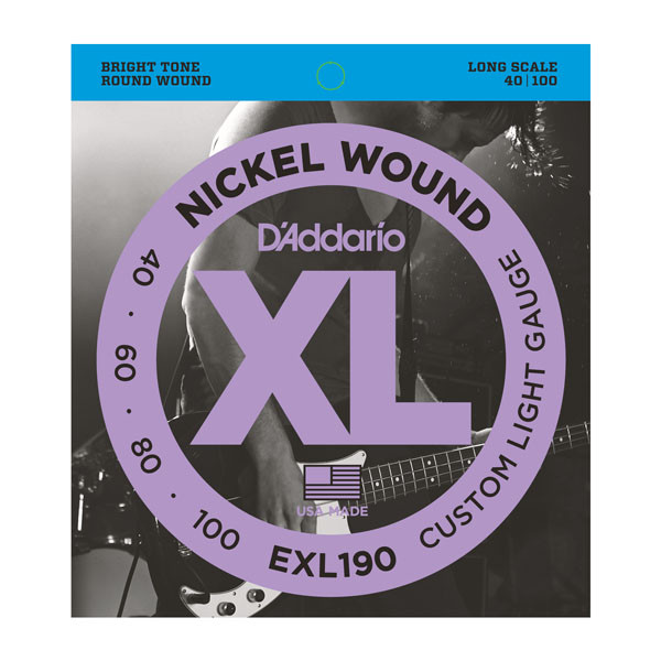 Струны D`ADDARIO EXL190 XL CUSTOM LIGHT 40-100