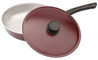 Сковорода алюминиевая Ø28см h-77мм с крышкой/бакелитовая ручка/декоративное покрытие Биол 1/6
