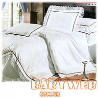 Комплект постельного шелкового белья  Снежинка  двуспальный с кружевом