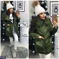 Новинка сезона! женская куртка воротник Лама карман украшен пайеткой  хаки 42 44 46 48