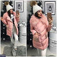 Новинка сезона! женская куртка воротник Лама карман украшен пайеткой  розовая 42 44 46 48