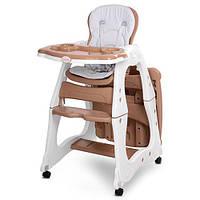 Стільчик M 2429-13 PRISMA для годування, трансформер (столик+стільчик), колеса 4 шт., коричневий.