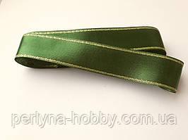 Стрічка атласна з люрексом ( золото) двостороння 3 см ( 10 метрів), зелена темна