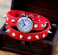 """Часы наручные с шипами """"Rock"""". Цвет красный"""