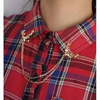 "Типсы. Уголки на рубашку ""Олени"". Цвет золото"