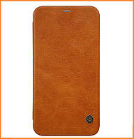 Кожаный чехол-книжка Nillkin Qin Series на iPhone X / 10 Brown