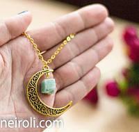 """Кулон """"Луна. Натуральный камень хризопраз"""". Цвет основы золото"""