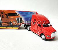 Машинка трейлер грузовик с прицепом Kenworth T700 красный