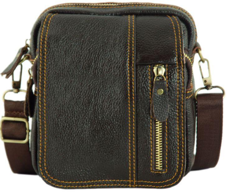 Мужская кожаная сумка через плечо Traum 7172-10 коричневый