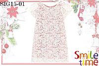 Платье праздничное р.104,110,116,122,128 SmileTime гипюровое Romantik, бело-розовое