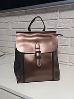 """Женский кожаный рюкзак-сумка (трансформер) """"Милла Bronze"""""""