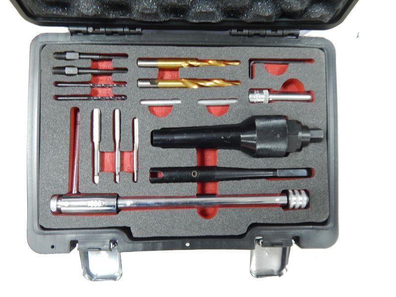 Набор инструментов для извлечения свечей накаливания и реставрации резьбы, в кейсе