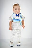 "Слюнявчик для мальчика ""Маэстро"" Сине-желтая клеточка, фото 1"