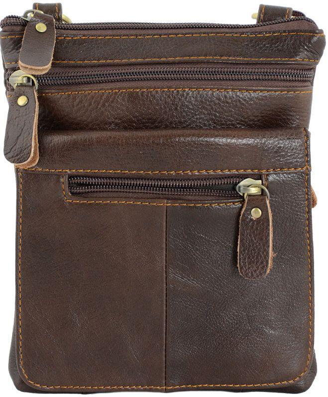Мужская кожаная сумка планшет Traum коричневая