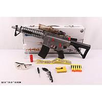 Бластер автомат, в комплекте - защитные очки, набор снарядов с присосками, съемный глушитель, отвертка, кабель
