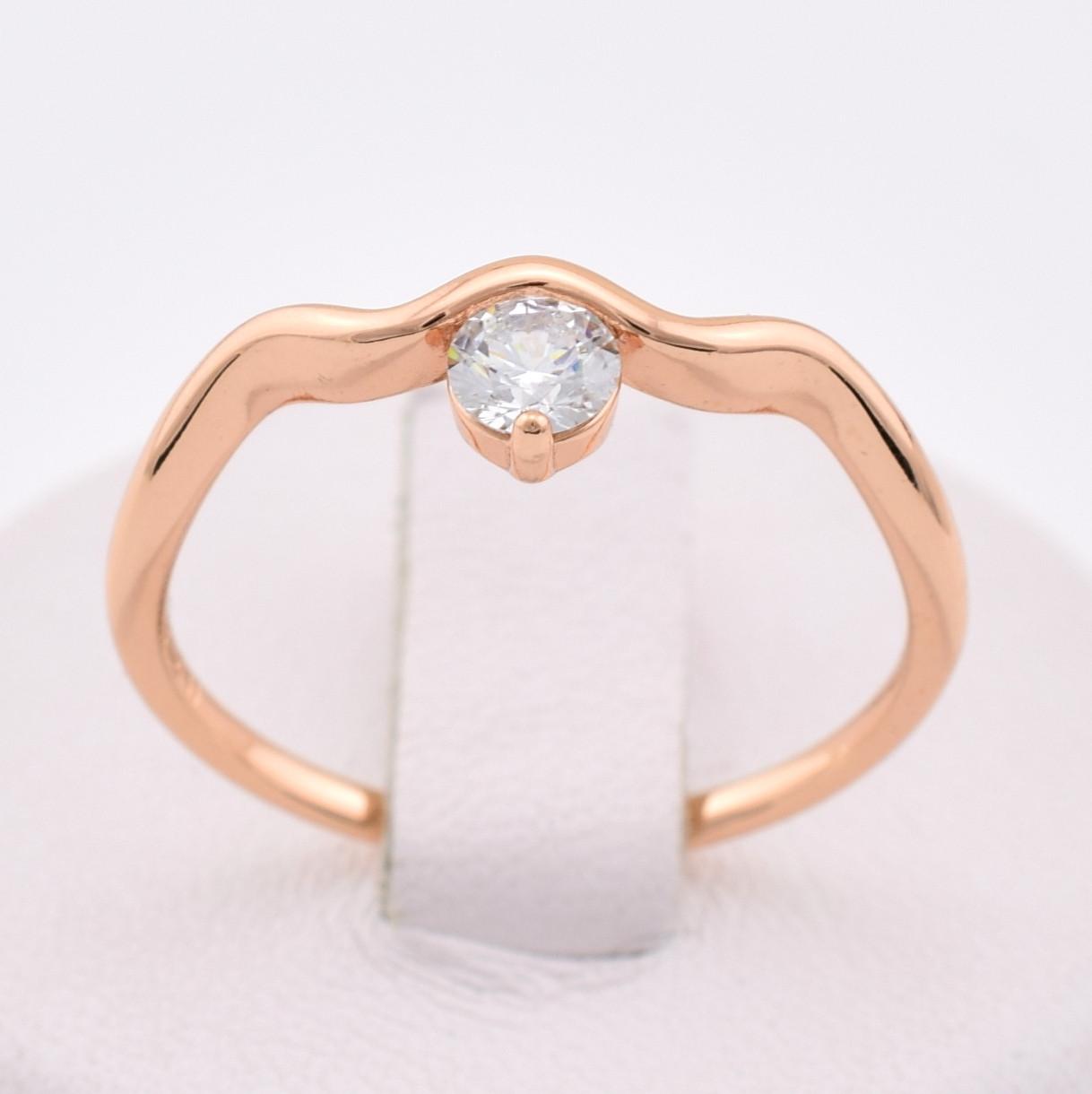 Кольцо 13875-РО размер 17, белый фианит, позолота РО
