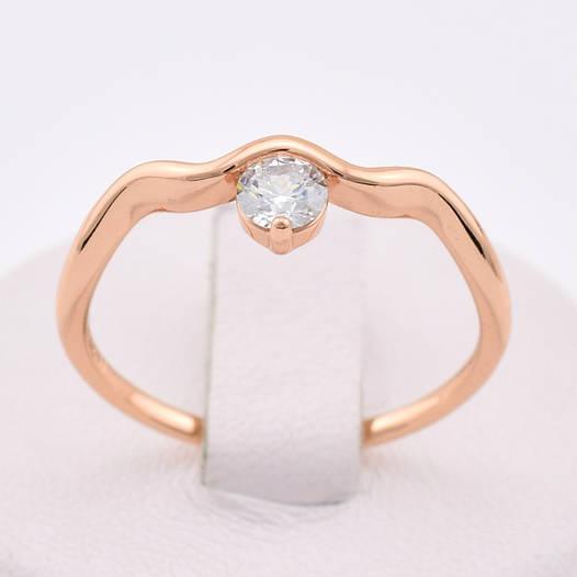 Кольцо 13875 размер 17, белый камень, позолота РО