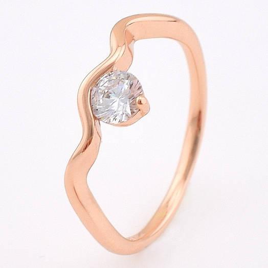 Кольцо 13875 размер 21, белый фианит, позолота РО