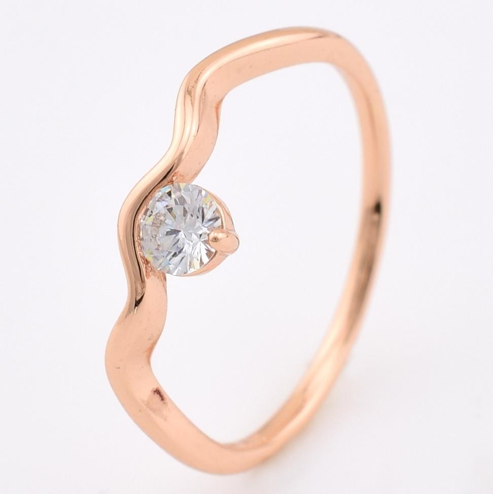 Кольцо 13875-РО размер 16, белый фианит, позолота РО
