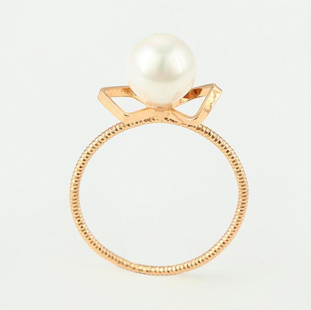 Кольцо 15340 размер 18, искусственный жемчуг, позолота 18К