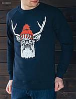Зимний свитшот Staff deer in a hat KKK0008 с начесом